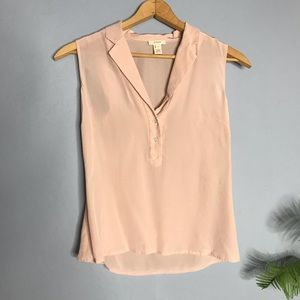 J Crew Pink Silk Sleeveless Button Blouse Top 0 xs